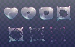 Duendes transparentes da explosão da bolha do coração ilustração do vetor