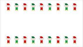 Duendes vermelhos e verdes animados ilustrados do Natal no branco video estoque