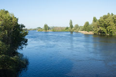Duero River, Tordesillas, Spain. View of Duero river passing by Tordesillas, Castilla La Mancha, Valladolid Province, Spain. Duero river is born in Spain and Royalty Free Stock Photo