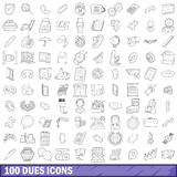 100 dues icons set, outline style Royalty Free Stock Photography