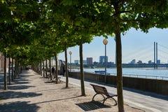 DUESSELDORF, ALEMANIA - 17 DE AGOSTO DE 2016: La 'promenade' del Rin con su avenida plana invita para un paseo sombreado con a Imagen de archivo