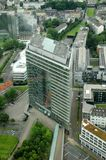 Duesseldorf City Gate. The modern building Stadttor of Dusseldorf in Germany - view from TV tower Stock Photo