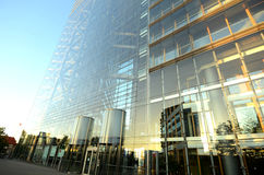 Duesseldorf City Gate in the morning sun. The modern building Stadttor of Dusseldorf in Germany Stock Photography