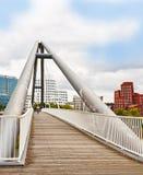 Duesseldorf cityscape from a pedestrian bridge on river Rhine Stock Photos