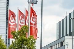 Duesseldorf, Duitsland - September 20 2017: De insolvente luchtvaartlijn werkt nog bij de luchthaven Royalty-vrije Stock Afbeelding