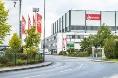 Duesseldorf, Duitsland - September 20 2017: De insolvente luchtvaartlijn werkt nog bij de luchthaven Stock Afbeeldingen