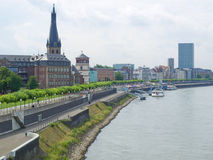 Duesseldorf, Germany. Duesseldorf panorama with river Rhein (Rhine), Germany Stock Images