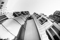 DUESSELDORF, GERMANY - JANUARY 22, 2017: The famous Chrome-Building in the New Media Harbor taken by a Fish Eye Camera in Black Wh Stock Photos