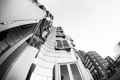 DUESSELDORF, GERMANY - JANUARY 22, 2017: The famous Chrome-Building in the New Media Harbor taken by a Fish Eye Camera in Black Wh. Ite Royalty Free Stock Image
