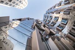 DUESSELDORF, GERMANY - JANUARY 22, 2017: The famous Chrome-Building in the New Media Harbor taken by a Fish Eye Camera in Color Stock Photo