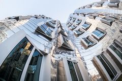DUESSELDORF, GERMANY - JANUARY 22, 2017: The famous Chrome-Building in the New Media Harbor taken by a Fish Eye Camera in Color Royalty Free Stock Photography