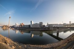DUESSELDORF, GERMANY - JANUARY 20, 2017: Fisheye view over the New Media harbor with the TV tower Royalty Free Stock Image
