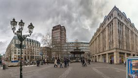 DUESSELDORF, GERMANY - JANUARY 05, 2017: High resolution, hyperrealistic panoarama of famous Heinrich Heine Platz with Carsch Haus Stock Photos