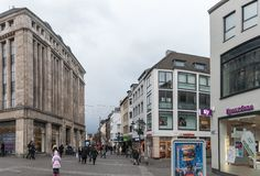 DUESSELDORF, GERMANY - JANUARY 05, 2017: High resolution panoarama from famous Heinrich Heine Platz with Carsch Haus into the Alts Stock Image