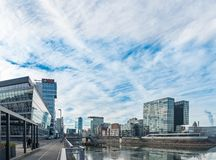 DUESSELDORF, GERMANY - JANUARY 20, 2017: The New Media Harbor hosts many modern office buildings and a hotel Stock Photo