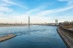 DUESSELDORF, GERMANY - JANUARY 20, 2017: From one of the skywalks in the new media harbor one has a spectacular view down the rive Stock Photo