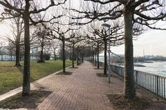 DUESSELDORF, GERMANY - JANUARY 20, 2017: There are many walkways in and around the new Media Harbor that invite visitors for explo Royalty Free Stock Photo