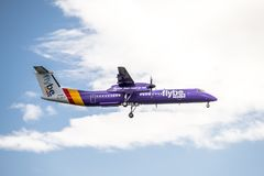 Duesseldorf , Germany - October 05 2017: Flybe Bombadier Dash 8 Q400 landing at Dusseldorf Airport Stock Photography