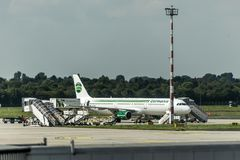 DUESSELDORF GERMANY - September 2017 Germania Airbus A321-211 parking at the German Airport being loaded. DUESSELDORF GERMANY - September 2017 Germania Airbus Royalty Free Stock Photography