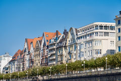 DUESSELDORF, GERMANY - SEPTEMBER 14, 2016: The historic fascades contribute to the charming appel of the Rhine promenade Stock Photo