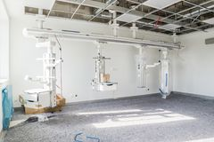 Duesseldorf Niemcy, Wrzesień, - 04 2017: Budowa oddział intensywnej opieki rozwija się Zdjęcia Royalty Free