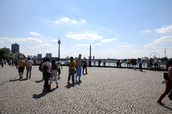Duesseldorf panorama. View on embankment of the Rhine river in sunny  day -  Düsseldorf -Germany Stock Image
