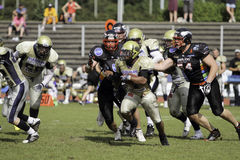 Duesseldorf Panther v Dresden Monarchs,. A dresden players attempts a big play, he didn't get far. August 21 2011, Düsseldorf, Germany Stock Photos