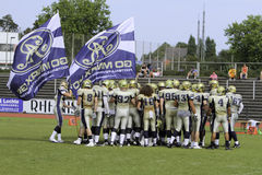 Duesseldorf Panther v Dresden Monarchs,. The Dresden Monarchs rally before the game. August 21 2011, Düsseldorf, Germany Stock Photography