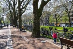 Dusseldorf - street life on boulevard Koenigsallee beside Dich stock image