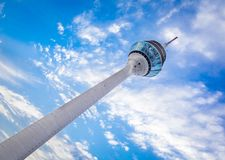 Duesseldorf tower in front of blue sky Stock Photos