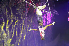 Duet aerial acrobatics Royalty Free Stock Photography