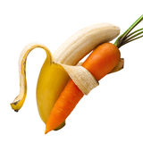 Duet bananas and carrots Stock Image