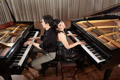 Duet with pianos Royalty Free Stock Photos