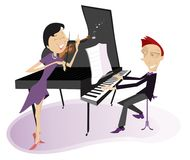 Couple musicians play music on violin and piano isolated illustration Stock Photos