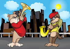 Duey Dog standing and playing trumpet Stock Images