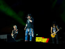 Duff McKagan Axl Rose and Slash in Guns N Roses concert - not in this lifetime southamerica tour. CURITIBA, BRAZIL - NOVEMBER 17, 2016 - Duff McKagan Axl Rose royalty free stock images