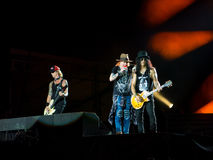 Duff McKagan Axl Rose and Slash in Guns N Roses concert - not in this lifetime southamerica tour. CURITIBA, BRAZIL - NOVEMBER 17, 2016 - Duff McKagan Axl Rose royalty free stock image
