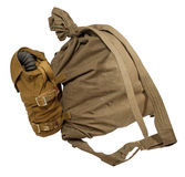 Duffel bag and gas mask in pouches Stock Image