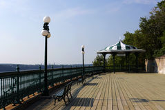 The Dufferin Terrace. Park benches on the boardwalk of the Dufferin Terrace Royalty Free Stock Image