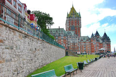 Dufferin terrace and Chateau Frontenac Stock Image