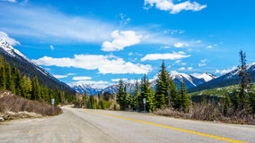 The Duffey Lake Road, Highway 99, as it winds through the snow covered Coast Mountain Range Stock Photos