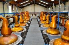 DUFFTOWN, REGNO UNITO - 5 SETTEMBRE 2013: Interno del corridoio della distilleria di Glenfiddich con gli alambicchi del vaso fotografia stock