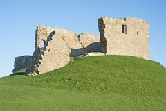 Duffus Castle. One of the finest a motte and bailey castles in Scotland maintained by Scottish Heritage and dating from around 1200 AD Stock Image