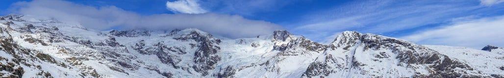 Dufourspitze krajobraz od Gressoney Obraz Stock