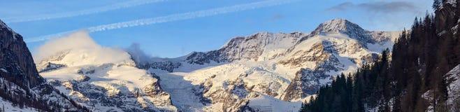 Dufourspitze krajobraz od Gressoney Obrazy Stock