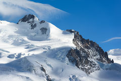Dufourspitze of Monte Rosa mountain peak Stock Image