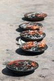 Duft, der in den Platten brennt Stockbild