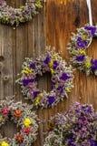Duftende Trockenblumen winden an einem Landwirte ` Markt in Deutschland stockbild