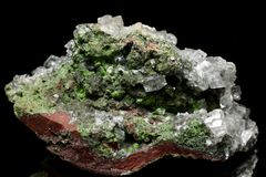 Duftite, Calcite and Dolomite crystals from Tsumeb Mine Royalty Free Stock Photo