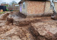 Dug foundations. Dug and prepared foundations around the house, selective focus royalty free stock photo